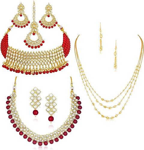 Sensational Pearl Gold Plated Wedding Jewellery Kundan Set Of 3 Necklace Combo For Women SKR48722