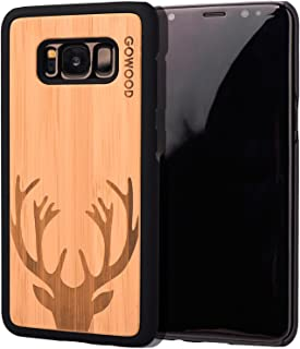 Wood Case for Samsung Galaxy S8 | Real Natural Bamboo Wooden Backplate with Unique Deer Design and Shock Absorbing Polycarbonate Protective Bumper GOWOOD
