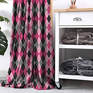 FOEYESEE Throw Blanket Argyle Motif with Diamonds and Lozenges Infinite Symmetric Stripes Image Baby Pink Black Grey Couch Bed Napping Reading Recliner W55 xL55
