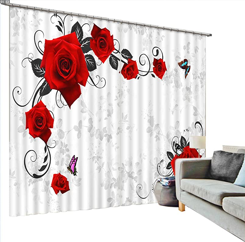 Newrara Red Roses and Butterfly Printing Blackout 3D Curtains 2 Panels for Living Room&Bedroom,Free Hook Included (118W106 L, White) lmgmnpdf275526