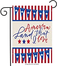 uHome Patriotic Garden Flag with God Bless America Texts, Stars and Stripes Background, Double-Sided, 100% All-Weather Polyester, Yard Flag to Bright Up Your Garden 12.5