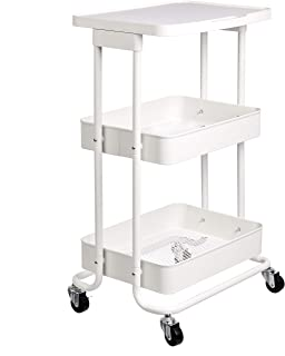 Amazon Basics 2-Tier Metal Kitchen/Utility Cart with Shelf, White
