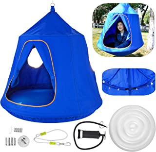 OrangeA Hanging Tree Tent Blue Hanging Tree Tent for Kids 46 H x 43.4 Diam Hanging Tree House Tent Waterproof Portable Ind...
