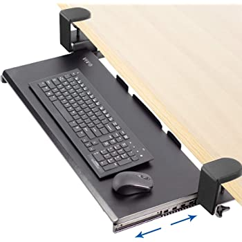 VIVO Large Keyboard Tray Under Desk Pull Out with Extra Sturdy C Clamp Mount System | Black 27 x 11 inch Slide-Out Platform Computer Drawer for Typing and Mouse Work (MOUNT-KB05E)
