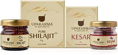 UPAKARMA Ayurveda Natural and Pure Raw 15g Shilajit Resin with 1g Kashmir Kesar Saffron Combo Pack