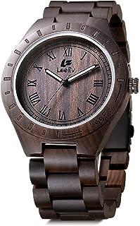 Wood Watch 47.5 mm Luxury Brand EV1001 Handmade Mens Wooden Watches Analog Quartz Lightweight Vintage Black Sandalwood Big Wrist Watch