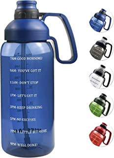 64 OZ Water Bottle with Straw, Motivational Water Bottle with Time Marker Large Water Bottle with Handle, 2L Sports Water ...