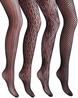 Women Patterned Fishnets Tights Small Hole Thigh High...
