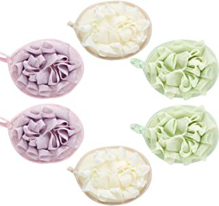 6 Pieces Bath Shower Pouf Sponge Mesh Pouf Shower Ball Exfoliating Body Loofah Shower Scrubber Ball Shower Glove with Flower Bath Ball (Color Set 1)