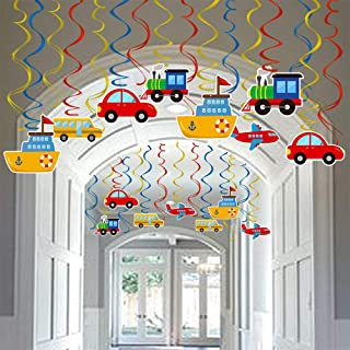 Transportation Party Hanging Swirl Decorations 30 Ct Car Bus Train Plane Ship DIY Hanging Decor for Kids Baby Shower Birth...