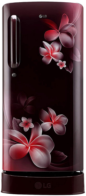 LG 190 L 3 Star Direct Cool Single Door Refrigerator(GL-D201ASPX.ASPZEBN, Scarlet Plumeria, Base Stand with Drawer, Smart Inverter Compressor)