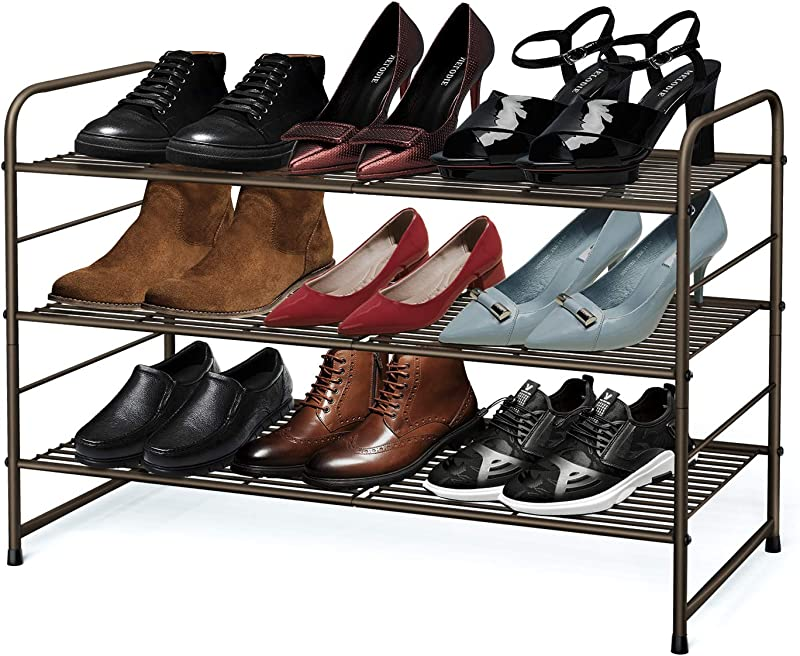 Simple Trending 3 Tier Stackable Shoe Rack Expandable Adjustable Shoe Shelf Storage Organizer Wire Grid Bronze
