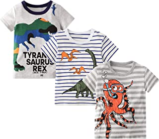 Toddler Boy Tees Short Sleeve Tops T-Shirt Summer Graphic Crewneck Cotton Casual Tshirt 3 Packs Sets