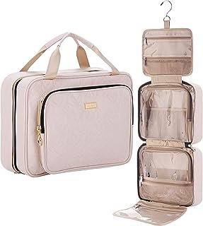 منظم حقيبة أدوات الزينة للسفر والمعلقة 4 أقسام من نيشيل، حقيبة مكياج كبيرة مقاومة للماء للحمام, زهري, Large, أنيق