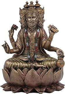 Ebros Supreme Cosmic Soul Hindu Deity Brahma Statue Brahman Four Faced Vedas Trinity Being Figurine Sitting On Lotus Throne Hinduism Deity Indian Mahadeva God