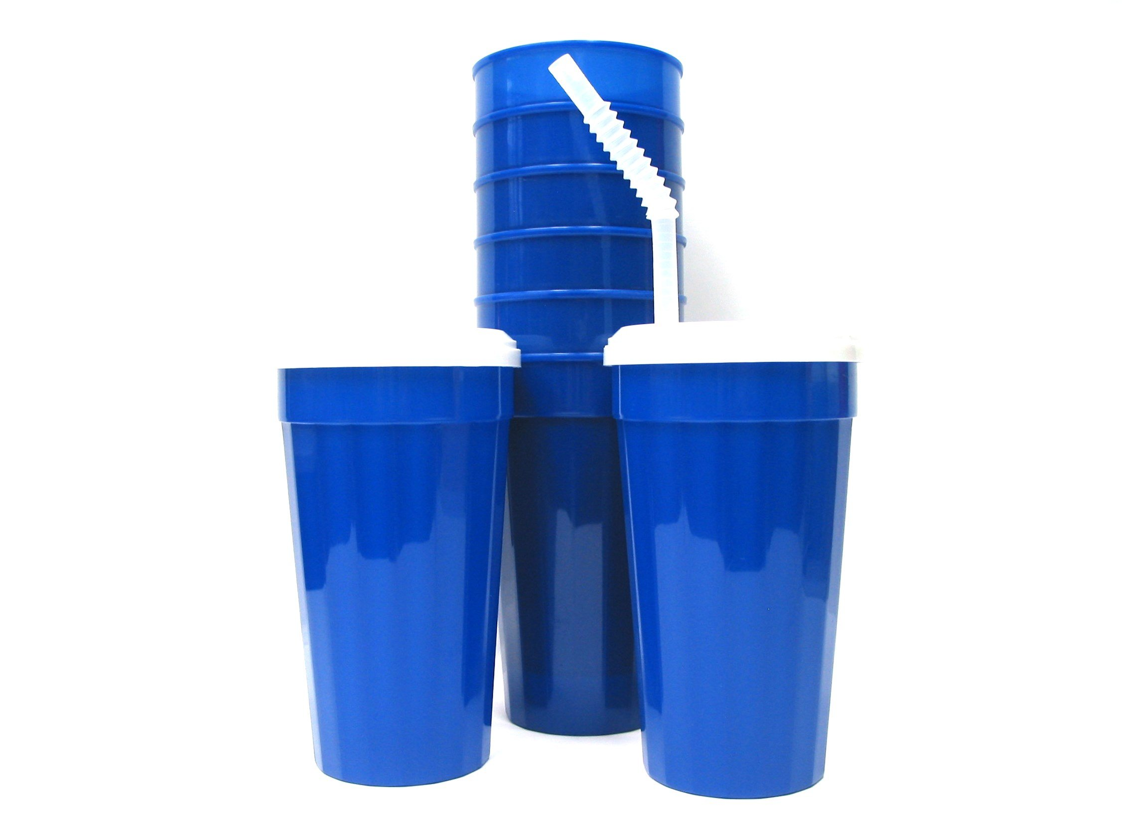 Talisman, Plastic Fluted Tumblers, Lids & Straws 32 Ounces, 8 Pack, Blue