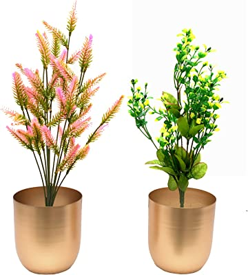New Gold Iron Planter Iron Plant Stand Flower Pot Indoor Outdoor Gold, Small, 2 Pieces,-,11x11x12 cm