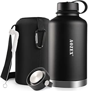 64 oz Stainless Steel Water Bottle, AOZEX Double Wall Half Gallon Vacuum Insulated Water Bottle, Wide Mouth Large Water Bo...