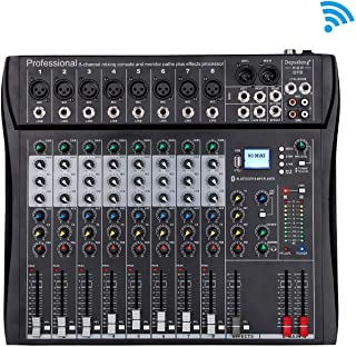 Depusheng DT8 Consola profesional de mezcla de sonido para DJ de 8 canales con Bluetooth y 48V Phantom Power USB Jack