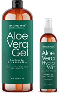 Best MAJESTIC PURE Aloe Vera Gel and Mist Super Combo - 16 oz Gel and 4 oz Hydra Spray - 100 Percent Pure and Natural Cold Pressed Aloe Vera for Hair Growth, Face, Body and Skin Review
