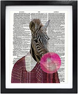 Susie Arts 8X10 Unframed Zebra blowing pink Bubble Gum Bubble Upcycled Vintage Dictionary Art Print Book Art Print Home Decor Funny Wall Art V154