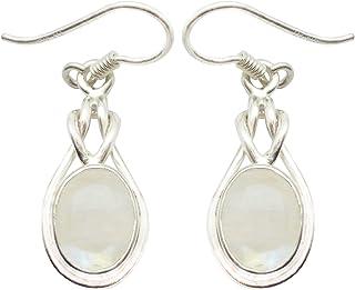 Shardajewels 925 Sterling Silver Handmade Earring SJE-195 Multicolor Rainbow Moonstone Dangle Earring for Girls & Women