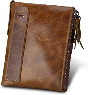 Leather Men Wallet Small Zipper Pocket Men Wallets Male Short Coin Purse Perse For Rfid,Brown