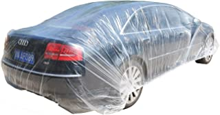 TopSoon Clear Plastic Car Cover with Elastic Band Disposable Car Cover Plastic Auto Cover Waterproof Universal Fit 22-Feet...