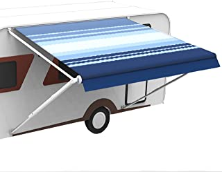 RV Camper Awning Fabric Replacement for 16 Feet Roll Out Awning (Fabric Size 15 Feet 2 Inch, Blue Stripe Color)