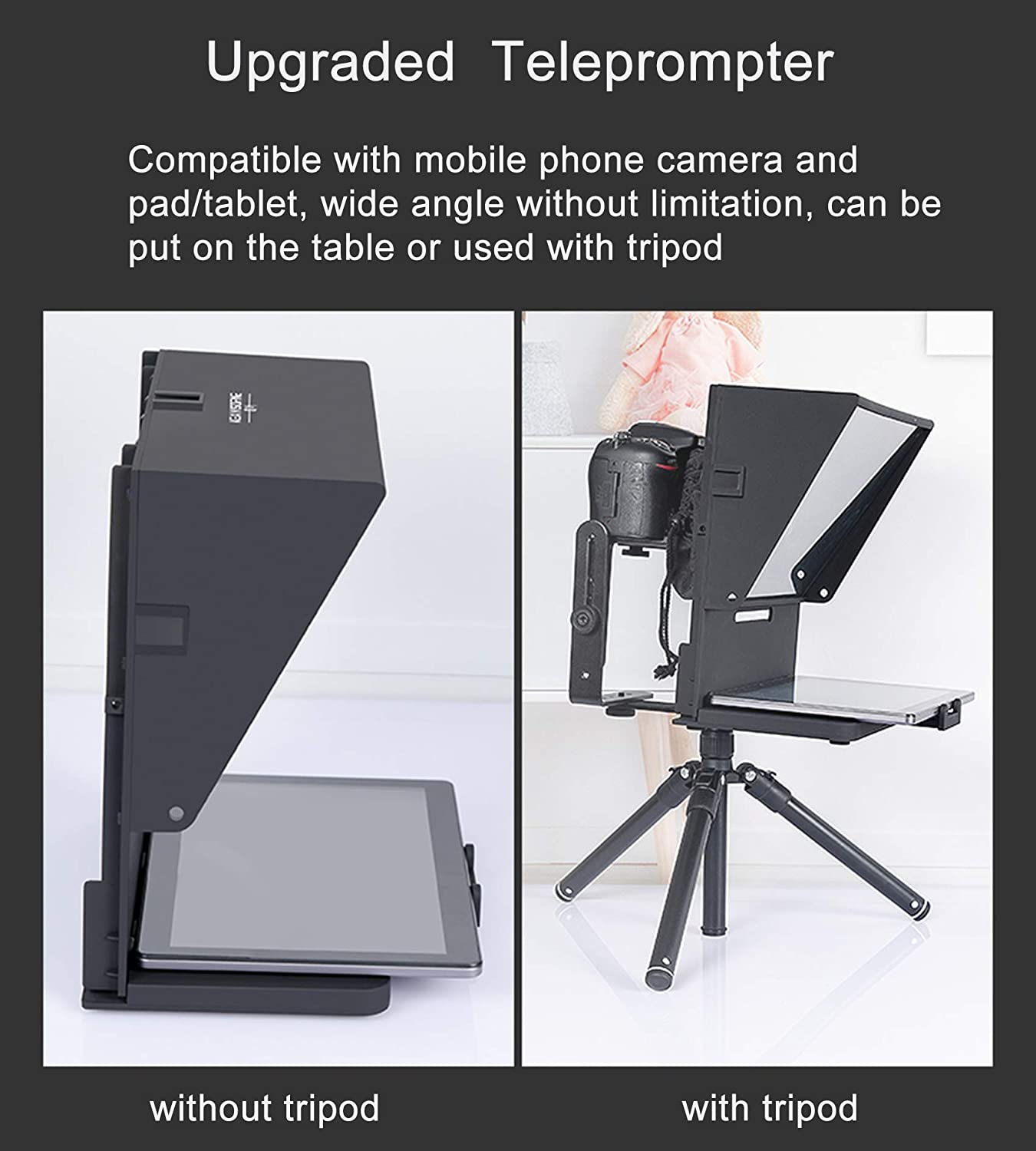 Teleprompter+82.7Tripod Spolehli Teleprompter TMP Adjustable ipad//Tablet//Smartphone Teleprompter for Phone/&DSLR with Big Screen for Video Shooting Interview Recording Live Stream Broadcast