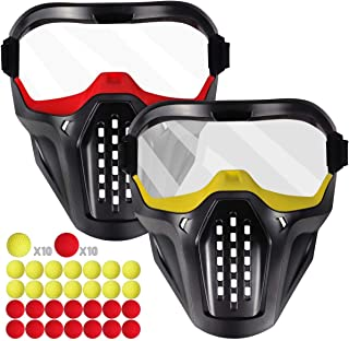 Tactical Mask Compatible with Nerf Rival Guns, 2 Pack Face Masks Protective Goggles with 20-Round Refill Pack Rival Balls Fit for Nerf Rival, Apollo, Zeus, Khaos, Atlas and Artemis for Boys Kids