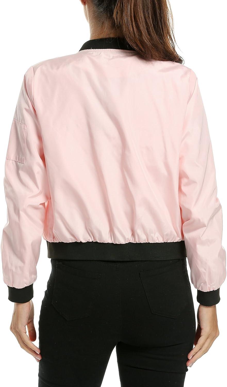 Zeagoo Damen Fruhling Herbst Bomberjacke Bikerjacke Fliegerjacke Kurz Leichte Jacke Motorradjacke College Jacke Mit Reißverschluss Outwear Rosa