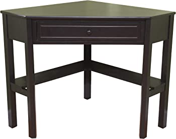 Corner Writing Desk with Pullout Drawer and Shelf