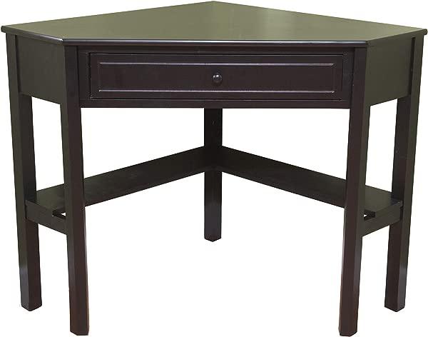 Target Marketing Systems Wood Corner Desk With One Drawer And One Storage Shelf Black Finish