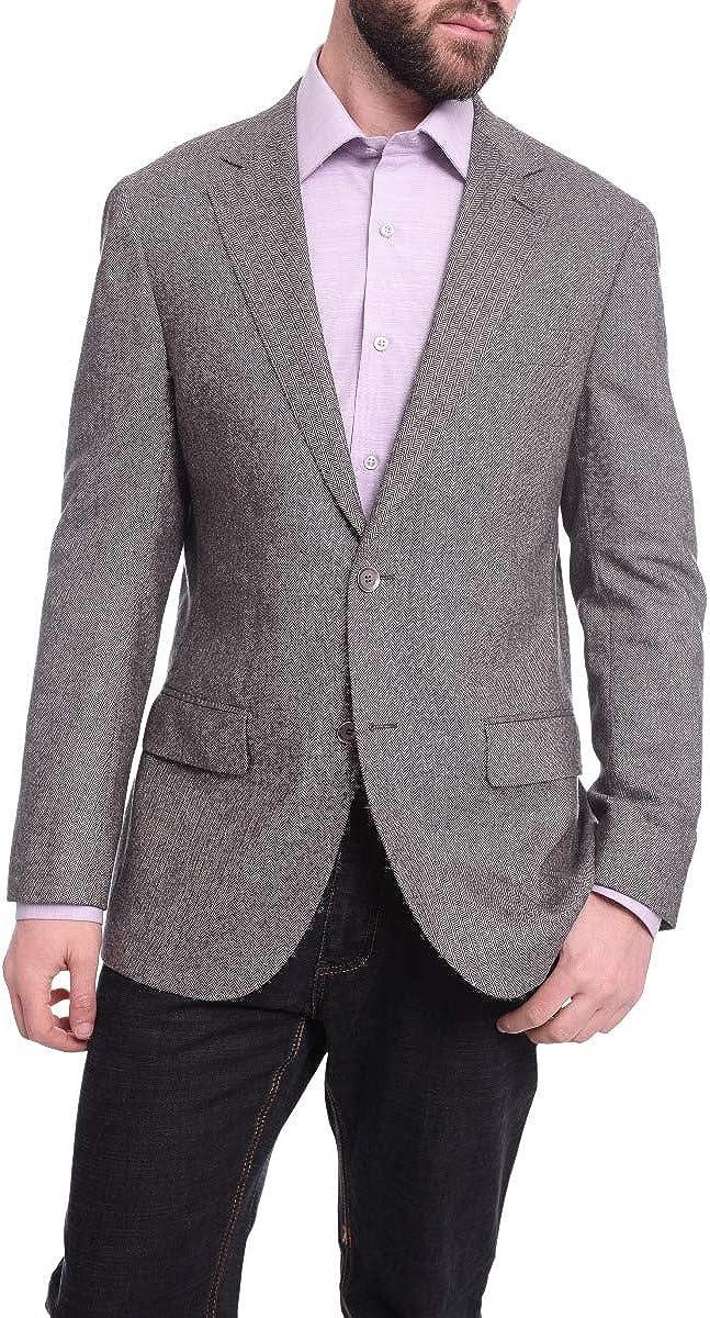 Napoli Classic Fit Gray Herringbone Half Canvassed Cashmere Blazer Sportcoat