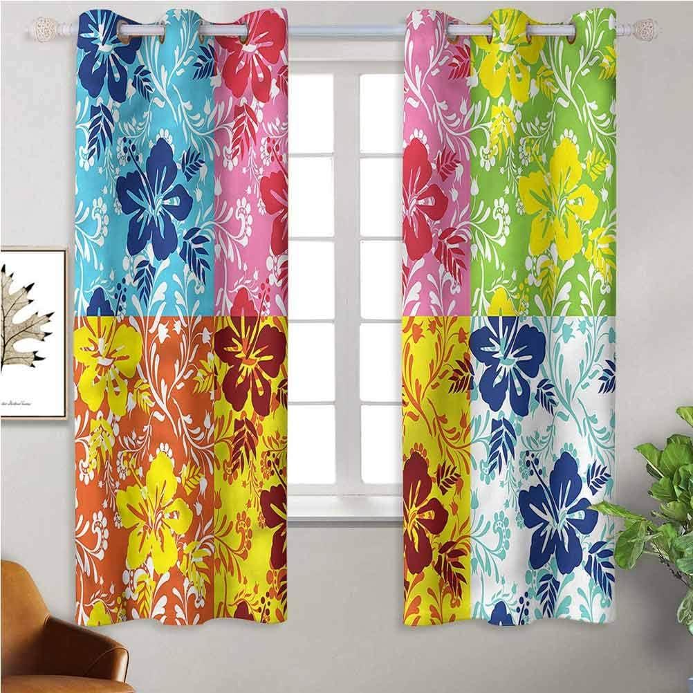 Jinguizi Window Curtain Kids Hawaiian Colorful Hibiscus free Luxury goods