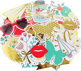 Scrapbook Stickers,44pcs Cardstock Stickers Love Stickers Decorative Masking Stickers for Personalize Laptop Scrapbook Dai...