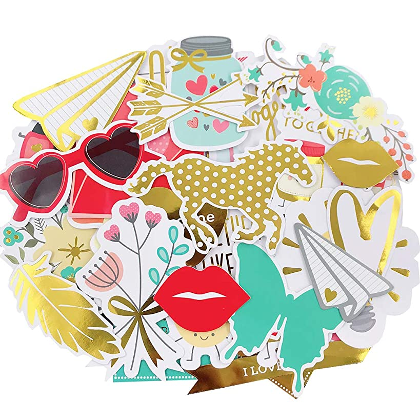 Scrapbook Stickers,44pcs Cardstock Stickers Love Stickers Decorative Masking Stickers for Personalize Laptop Scrapbook Daily Planner and Crafts