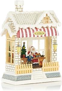 Christmas Light-Up Snow Globe - Santa's Workshop - Red Awning