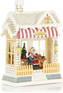 ReLive Christmas Light-Up Snow Globe - Santa's Workshop - Red Awning