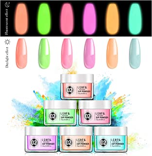 Glow Dip Powder Set UV Fluorescent Dipping Powder Refill Set 6 Colors 25g with Glow Nail Luminous Effect Glow In The Dark Powder Kit For Nail Art Party Carnival French nail