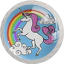 Lade knop Pull Handle 4 stuks Crystal Glass Cabinet lade trekt kast knopen,Cartoon Vector Eenhoorn met Eenhoorn met Regenb...