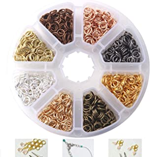 Dushi Iron Plated Jump Rings Unsoldered 6mm Diameter Jewelry Making Findings, 8 Colors, 2400 Piece