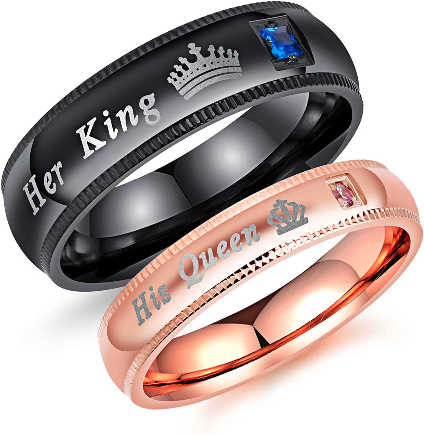 Stainless Steel His and Her Couples Rings Set His Queen Her King Wedding Engagement Anniversary Band Promise Rings Jewelry for Christmas Birthday