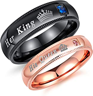2pcs His and Hers Couples Rings Matching Set His Queen & Her King Crown Wedding Engagement Anniversary Rings Band