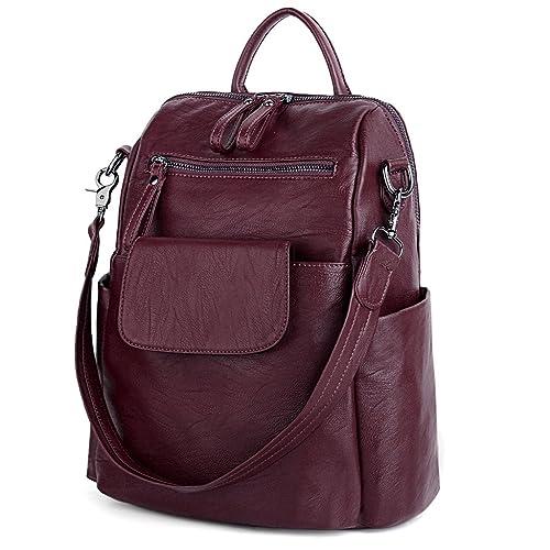 fc684ff0d6e8 UTO Women Backpack Purse 3 ways PU Washed Leather Ladies Rucksack Shoulder  Bag