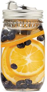 Jarware 82658 Stainless Steel 2-in-1 Drink and Fruit Infusion Lid, Regular-Mouth, Silver