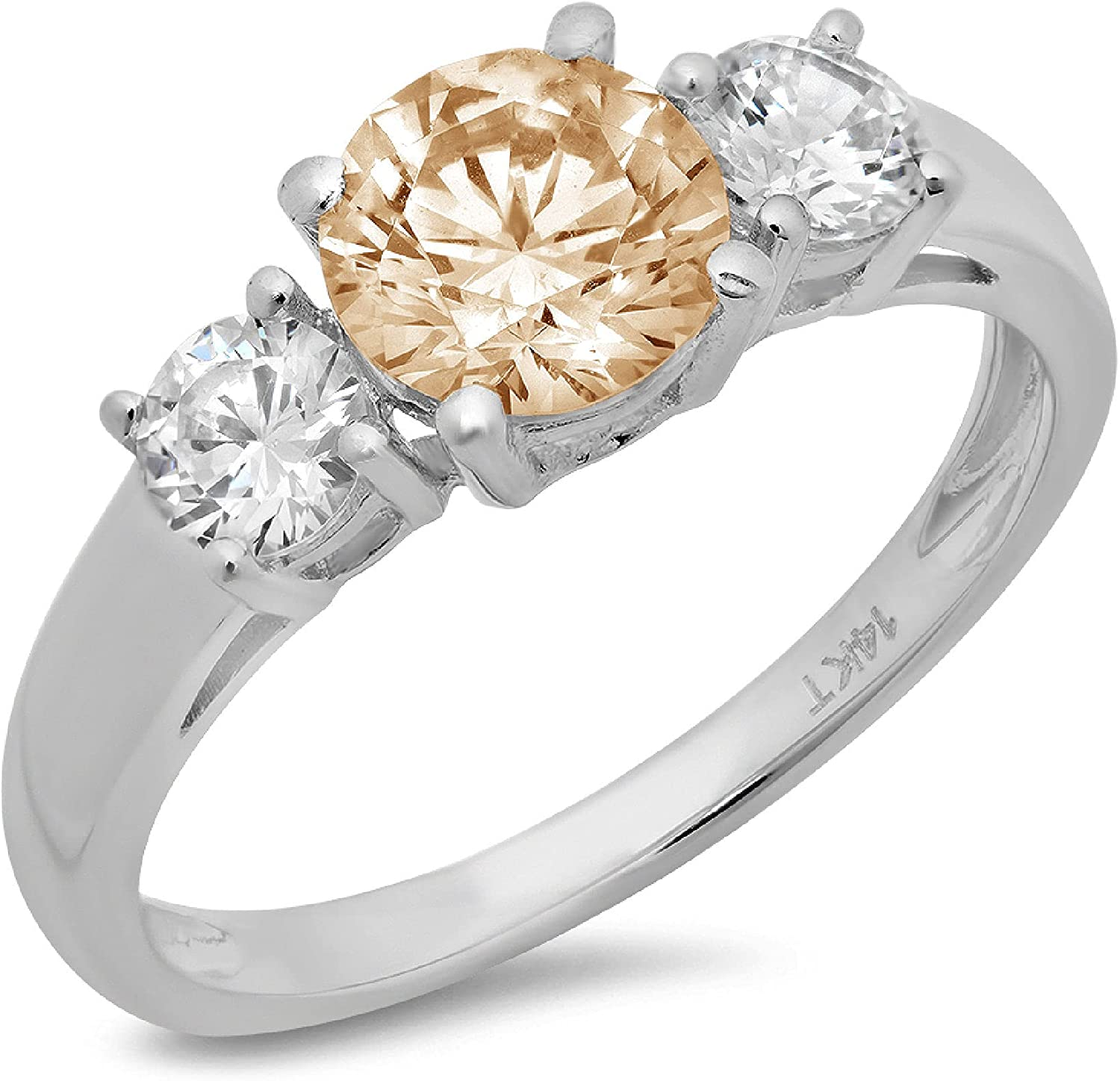 1.50 ct Brilliant Round Cut Solitaire 3 stone Flawless Yellow Moissanite Ideal Engagement Promise Statement Anniversary Bridal Wedding Designer Ring 14k White Gold