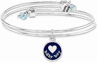 Silver-Tone Trinky Things Blue Boy Oh Baby Bracelet/Card
