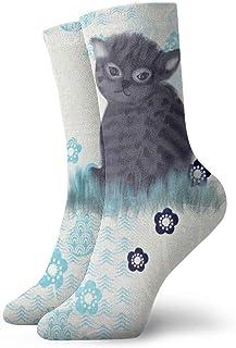 黒の子猫ファッショナブルなカラフルなファンキー柄の綿のドレスソックス11.8インチ